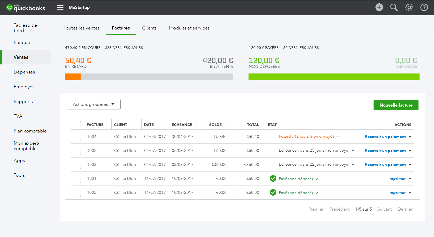 QuickBooks: Customer Invoice Management