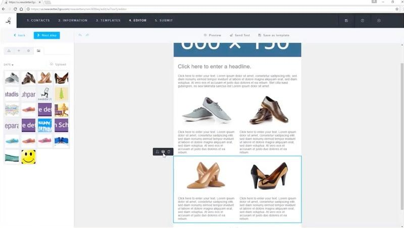 newsletter editor by dragging and dropping images and text.