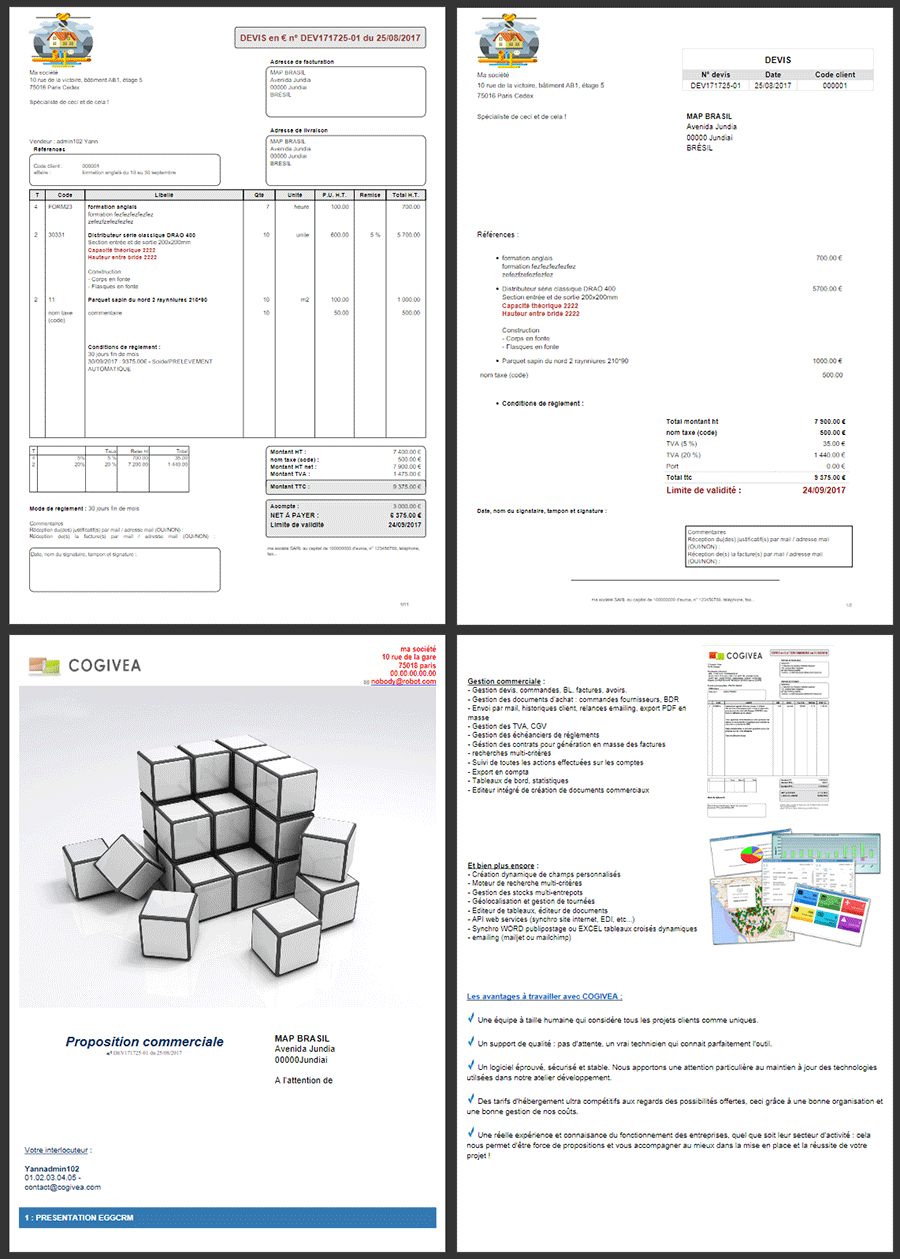 PDF documents: different models + powerful editor with direct mail variables to achieve new models: sales proposals, customer records, training agreements, acknowledgments, etc ....