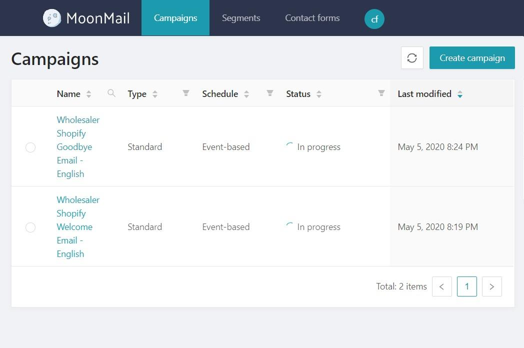 Campaign managing dashboard - MoonMail