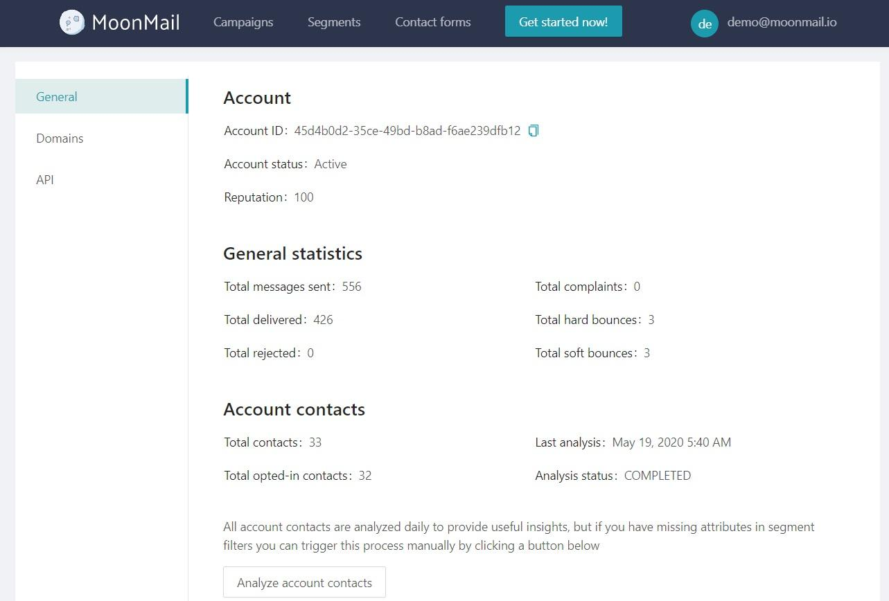 Account setting - MoonMail