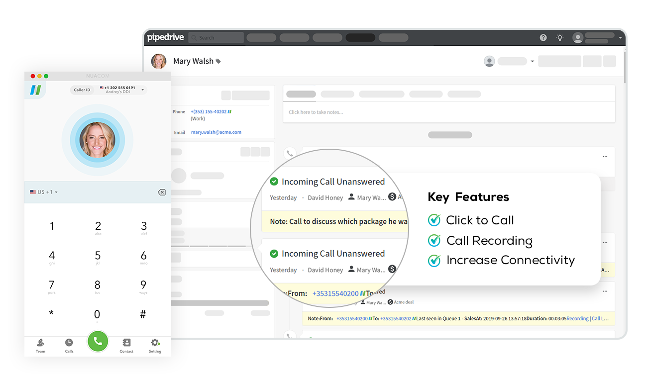 Easily combine your calls with one of our native integrations, like Pipedrive.