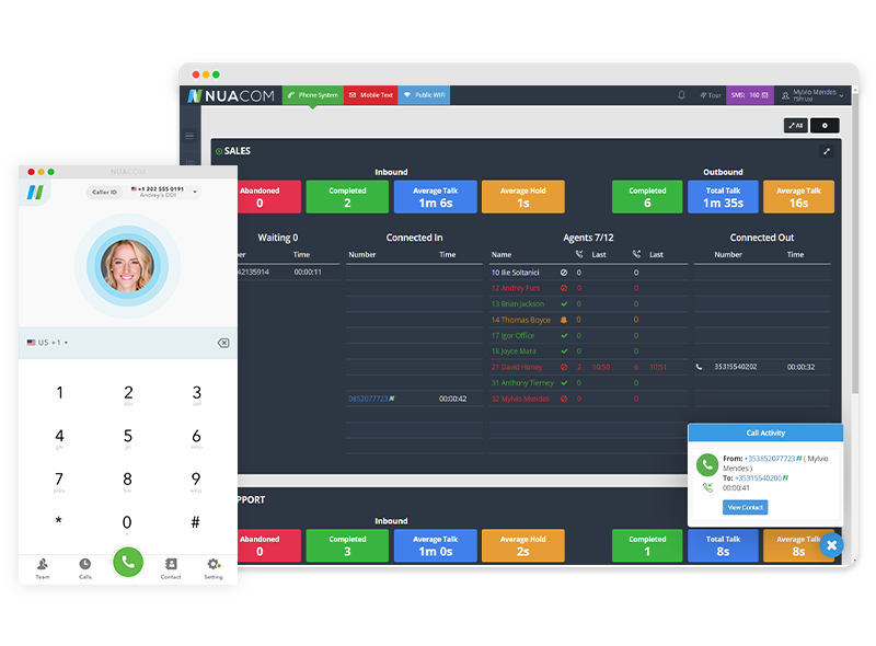 View all of your live calls Wallboard in your User Portal and quickly make calls from the NUACOM desktop app.