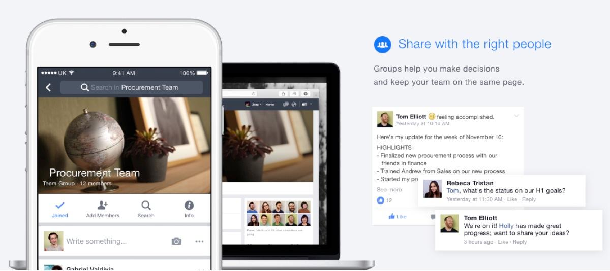 Facebook at Work: create events