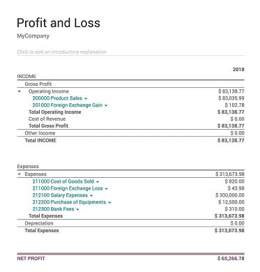 Odoo Accounting-accounting profit loss
