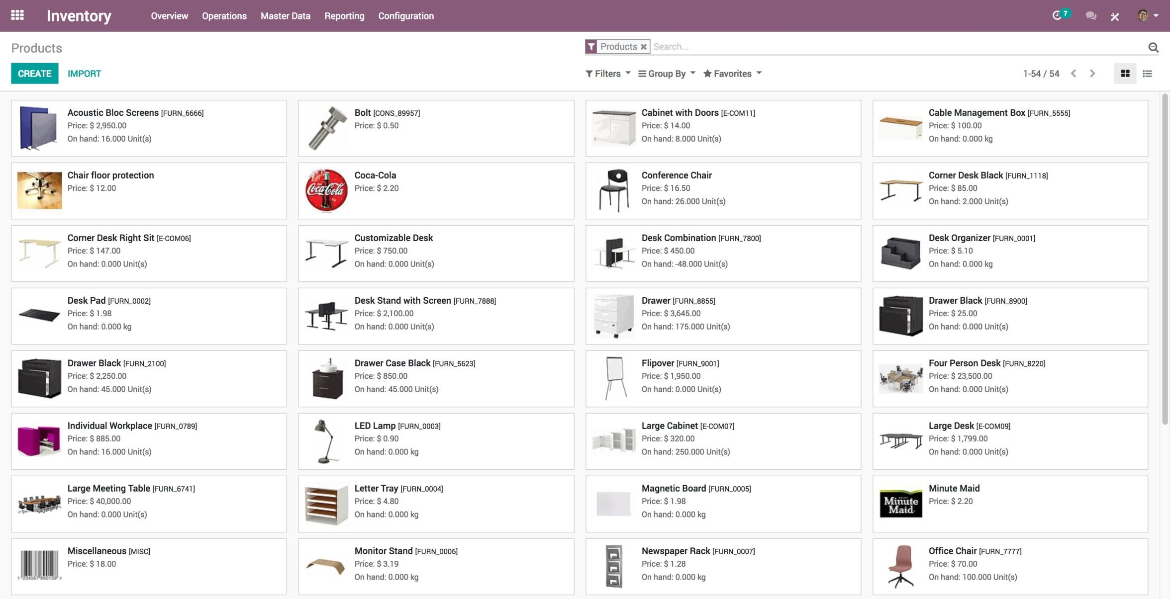Odoo Inventory-Inventory_Products list