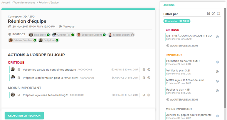 TAMPLO: meetings management module (Guests, agenda, actions and topics to be covered, etc.)