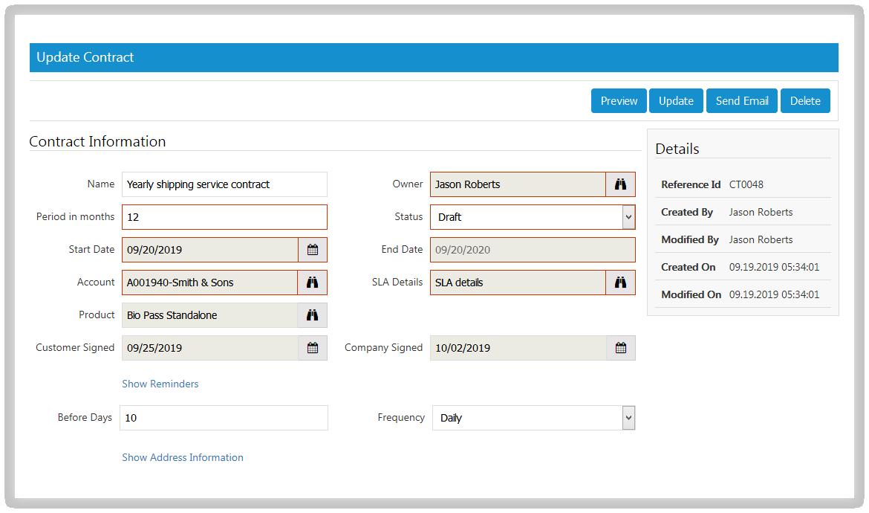 SutiCRM-SutiCRM Contract Screen