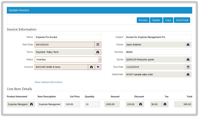 SutiCRM-SutiCRM Invoice Screen