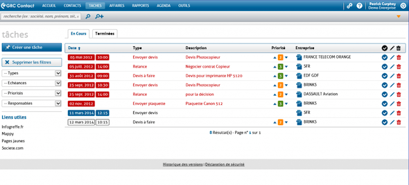 Task management in RCMP Contact