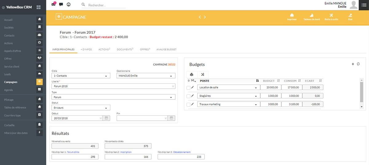 Yellowbox CRM generate traffic and measure these action
