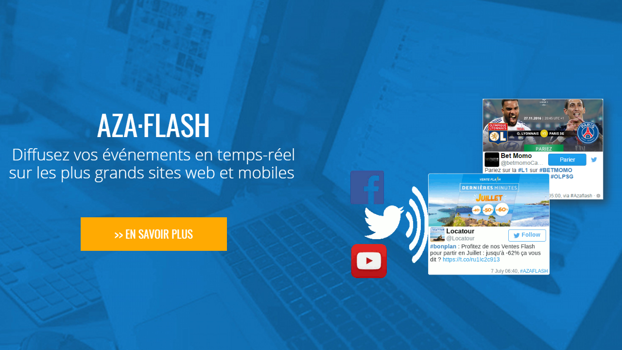 AZA Flash: Post your real-time events on the largest web and mobile sites
