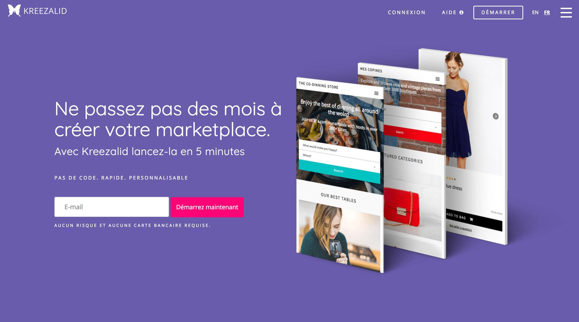 Kreezalid homepage That Explains how to Easily Build your own marketplace