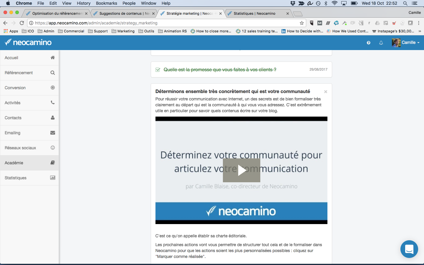 Neocamino Academy to learn to use all the necessary marketing tools