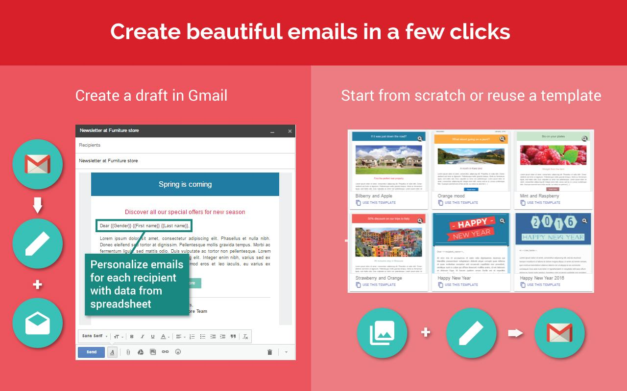 Prepare your campaign happy for mail merge! Create a new draft in your Gmail or reuse a template email
