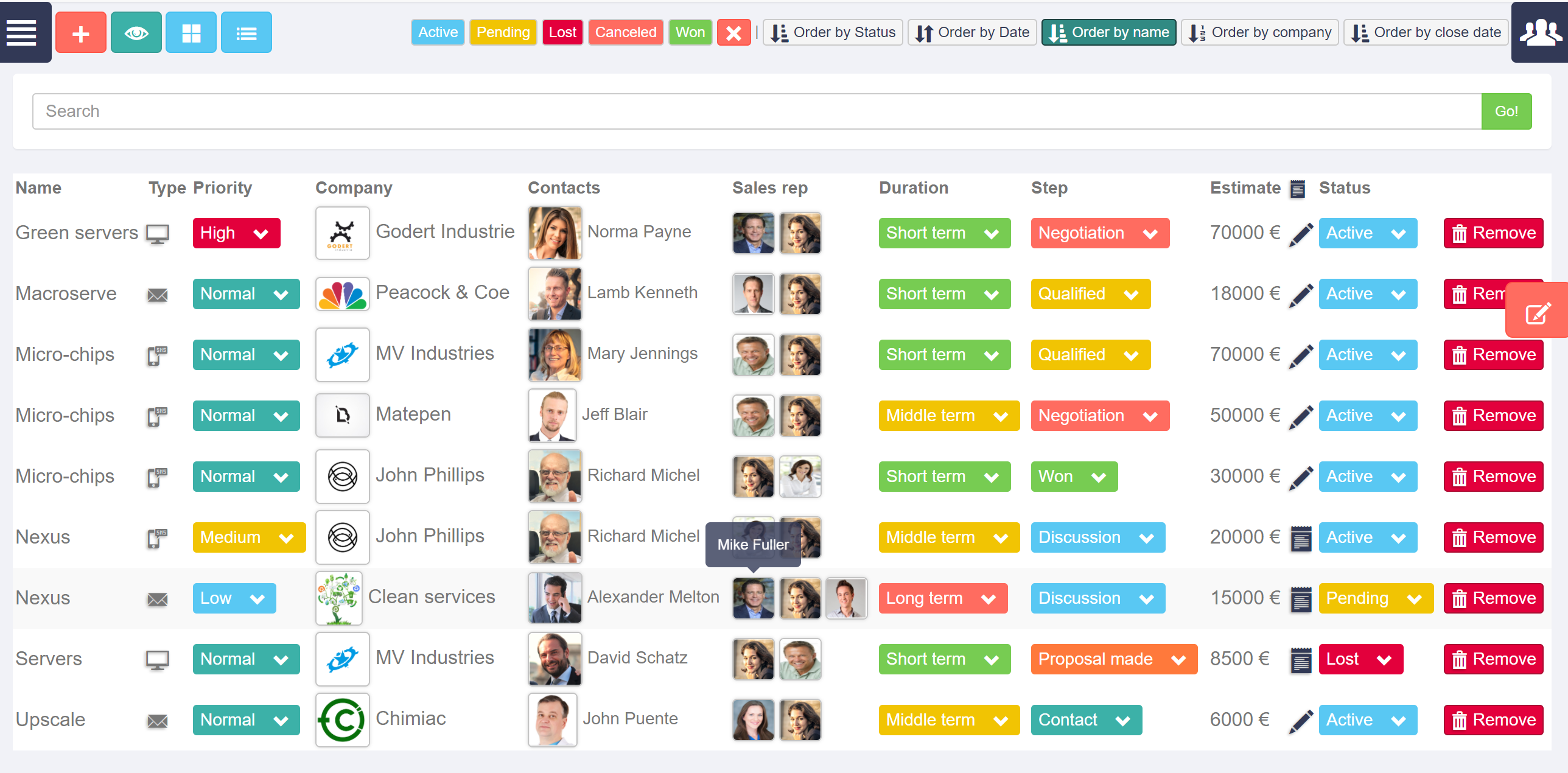 SocialJsCRM Opportunities list display