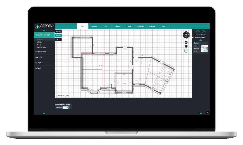 Draw your house 2D plan with our support tools to the plot