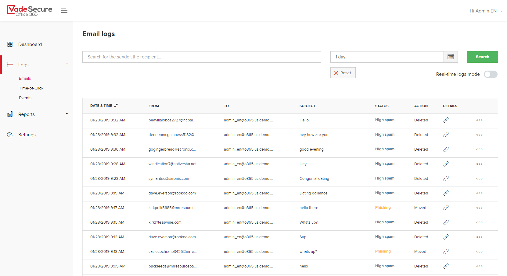 Vade Secure Office 365-Email logs