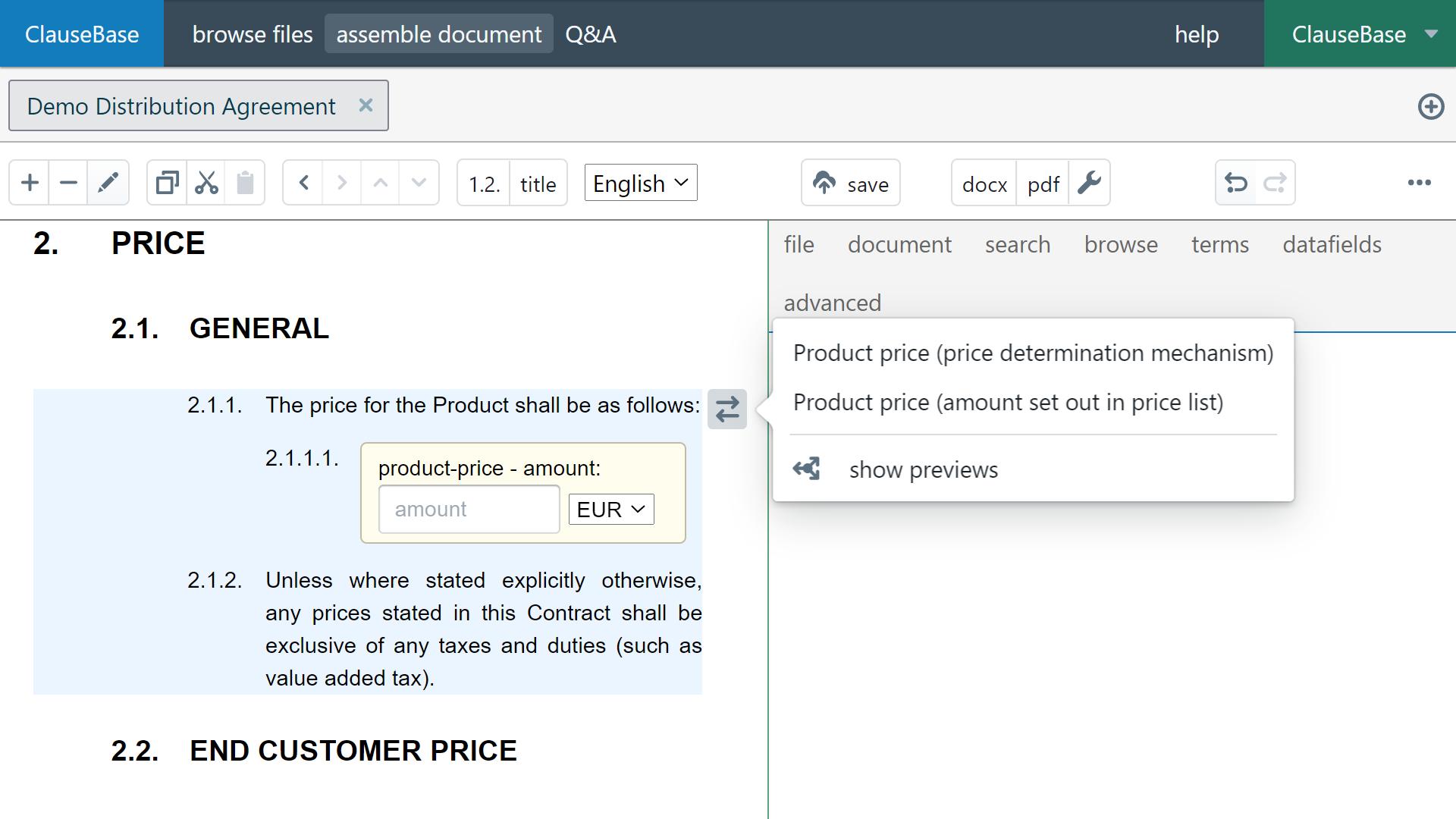 Clausebase-screenshot - demo distribution agreement