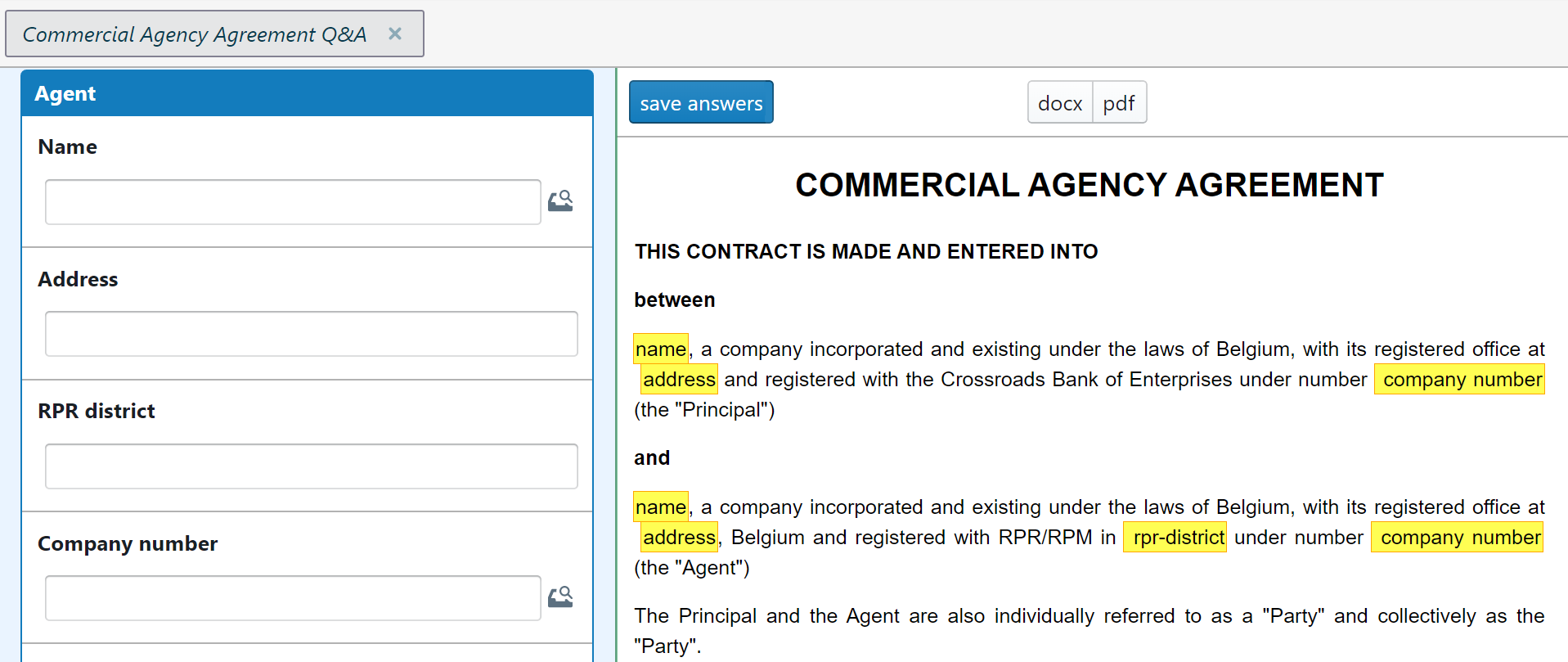 Clausebase-screenshot - commercial agency agreement