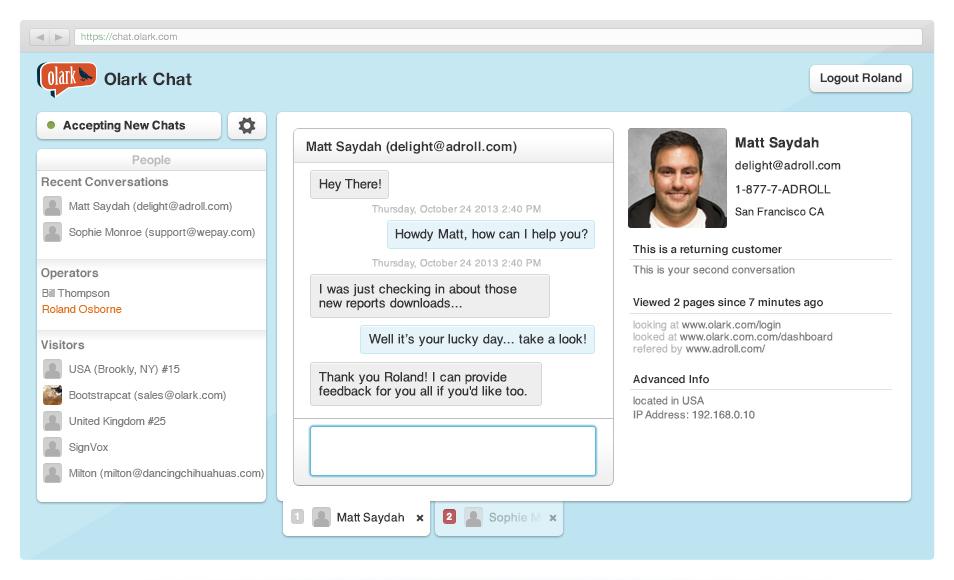 Olark: API web service, Mobile Application, Community (FAQs, Forum)