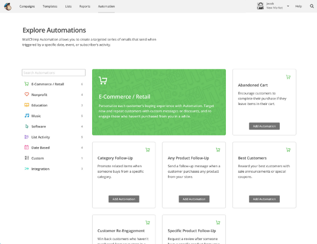 Automate email with MailChimp