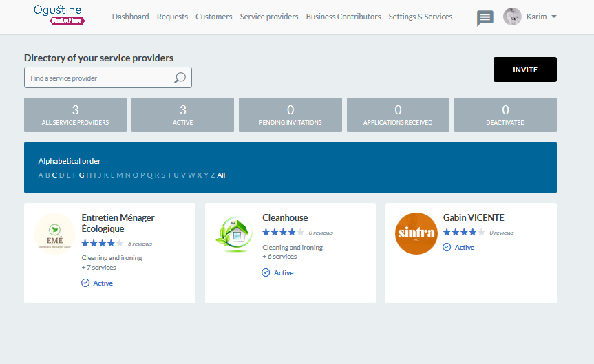 Ogust Marketplace: providers management
