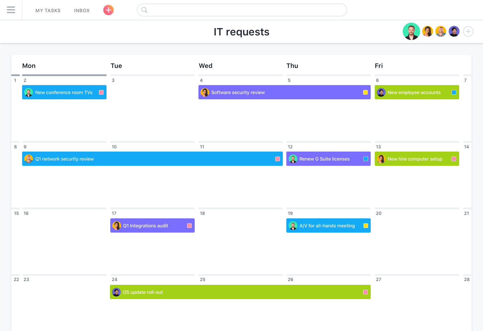 Asana calendar, Asana: Single Sign-On (SSO), Task Manager, Import and export data (CSV, XLS)