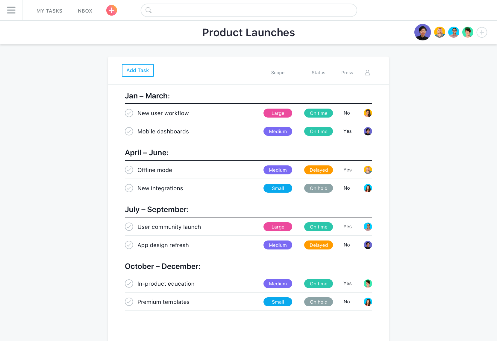 Product launches in Asana