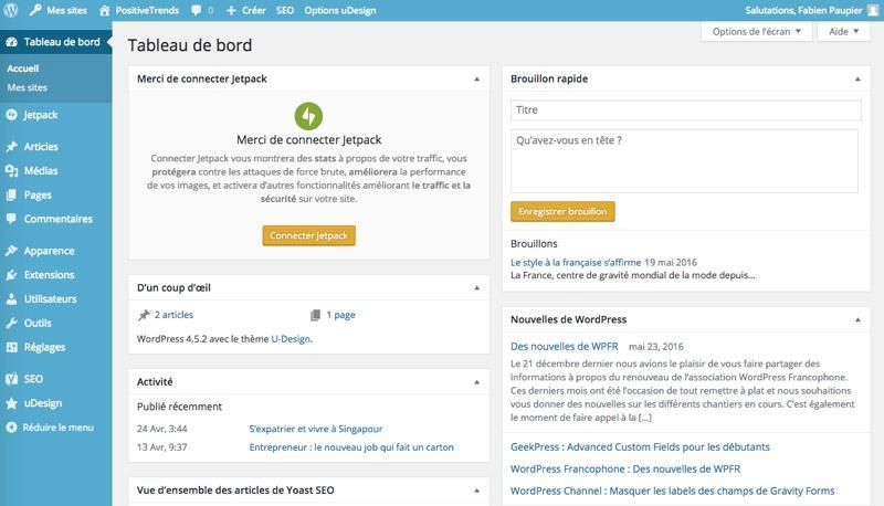 WordPress: Photos and videos, website templates, contact form