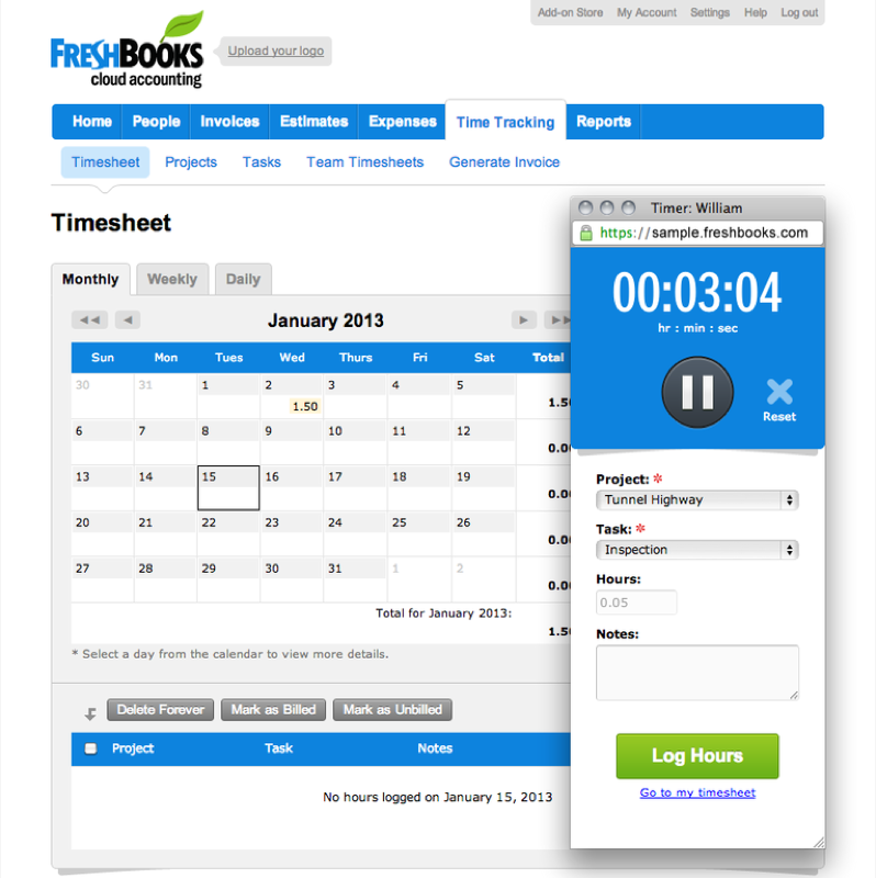 Freshbooks: Expense reports