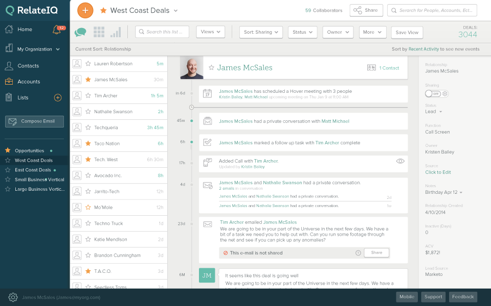 RelateIQ: support (phone, email, ticket), Monitoring of emails, Daily Backup