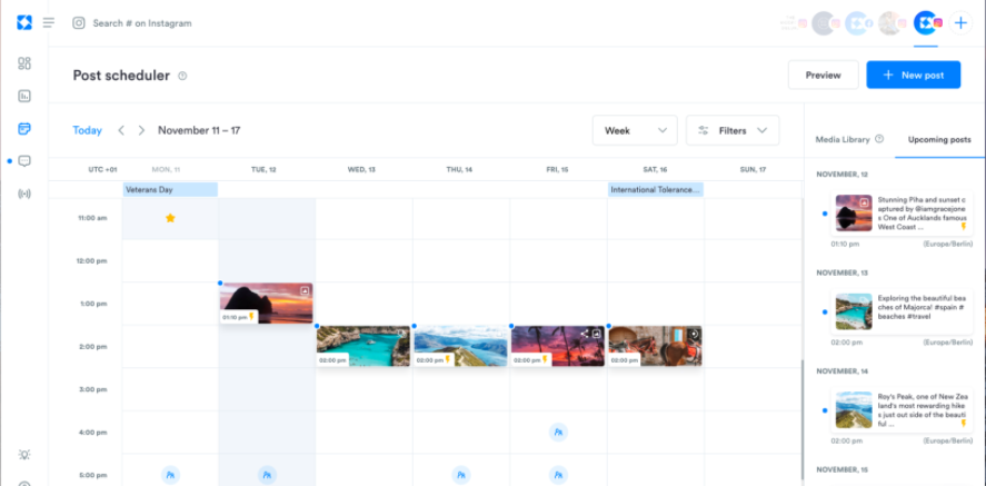 Schedule posts to Instagram and Facebook - including Carousel and Stories posts for Instagram. Cross post to multiple profiles. Automatic scheduling available.