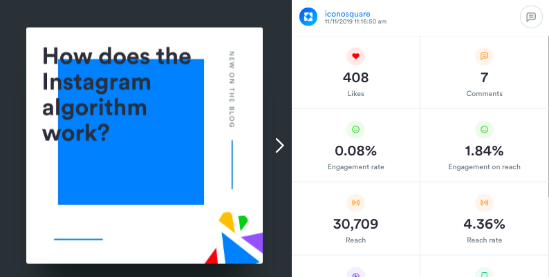 See each post's performance and manage comments within the Media Viewer